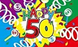 5ft x 3ft (150x 90cm) Happy 50th Geburtstag Material Banner Flagge