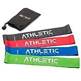 ATHLETIC AESTHETICS Premium Loop Bands Set [4 Fitnessbänder mit Praktischem Beutel + Übungsanleitung ALS PDF] - Trainingsbänder für Gymnastik, Fitness und Yoga - Gymnastikbänder/Widerstandsbänder