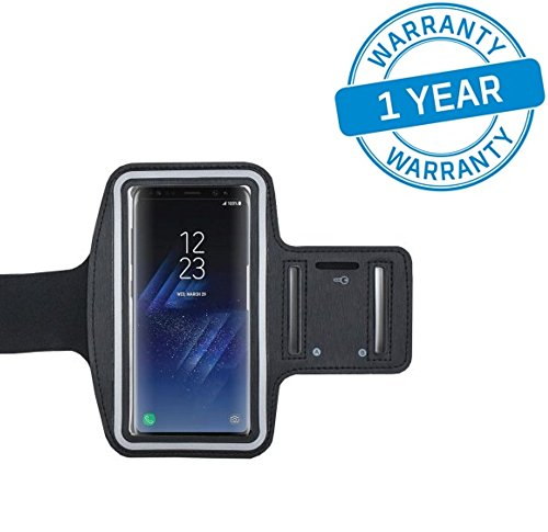 One plus 5 | One plus 5T | Samsung galaxy S8 | Iphone X | Iphone 8 | Mi Mix 2 | One Plus 3T | and Compatible Sports Armband for Running by Azacus | Mobile Holder for your entire jogging and exercise time | Black in colour with glowing white stripe | Both for Male and Female | Adjustable Free Size | Screen Size upto 5.5 inch | Hole for your Earphone or audio wire | Comes with Six Months Replacement Guarantee |  available at amazon for Rs.350
