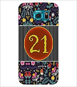 PrintDhaba Numerology Number 21 D-3109 Back Case Cover for SAMSUNG GALAXY S6 EDGE (Multi-Coloured)