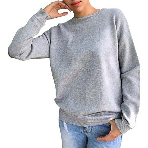Donna Sweater Elegante Sweatshirt Pullover Manica Lunga Rotondo Collo Moda Bendare Tops Sportiva Felpa Grigio