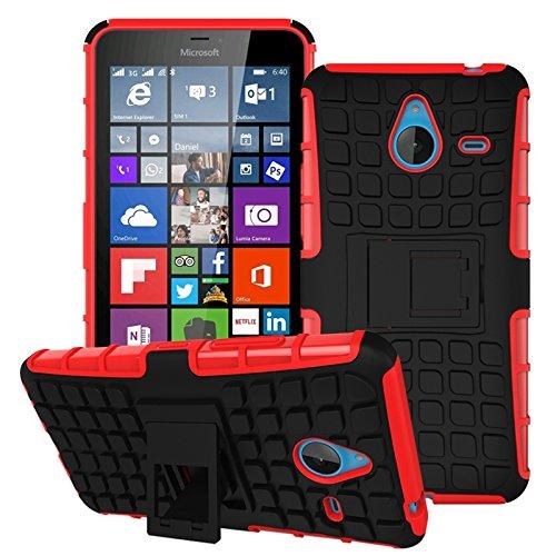 Owbb Hülle für Microsoft Lumia 640 XL Dual-SIM Handyhülle Hartes Silikon PC + TPU Hybrid Combo Zweilagig Case mit Schroff Function Ausklappbarer Ständer Design Reifenmuster Rot