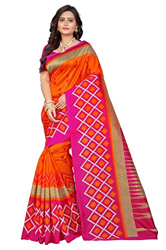Jaanvi Fashion Art Silk Ikat Patola Kalamkari Printed Saree (Patola-Print-Pink-Orange)