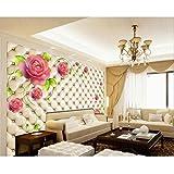 Finloveg Personnalisé Photo Fonds D'Écran Mural Imitation Sac Souple Roses Romantiques Salon Tv Peintures Murales Murales 3D Papier Peint Sticker Mural-400X580Cm