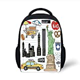 Kids School Backpack Doodle, York City Manhattan Statue of Liberty The Big Apple Hot Dog Stand Sketch Style,Multicolor Plain Bookbag Travel Daypack