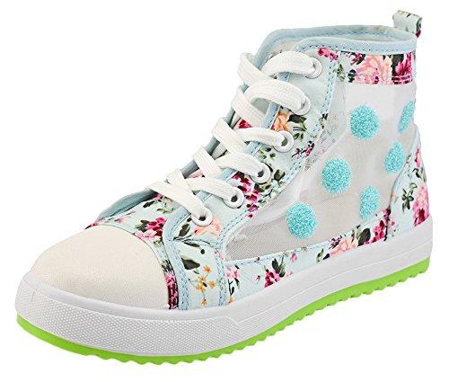 Scothen Damen Mädchen Schuhe Sneakers Turnschuhe Klassische Low Top Sneaker|Sportschuhe Textil Schuhe Hoch Sneaker Leinenschuhe Blumenmuster Segeltuchschuhe Sportliche Outdoor Turnschuh High Top