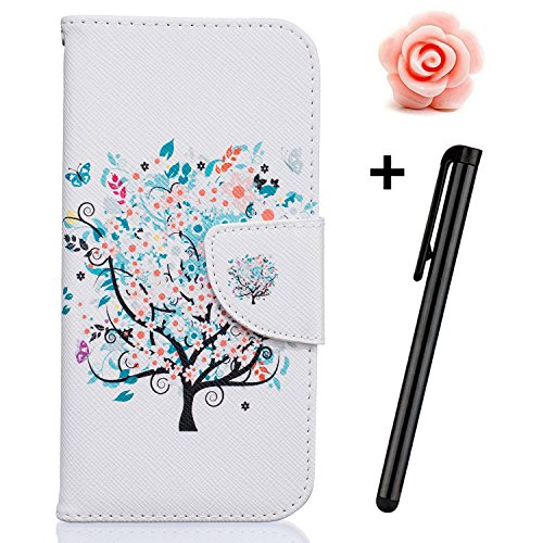 Custodia iPhone 7, custodia iPhone 7S a portafoglio, prodotto Toyym di alta qualità, decorazione con fiori/animali/personaggi, in ecopelle [chiusura magnetica] con tasche per carte, per iPhone Apple 7 Cherry Tree