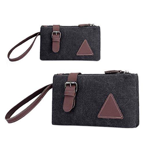 Zantec Zipper Canvas Clutch Bag mit Retro Gürtel Dekoration Handgelenk Handtaschen für Männer (17 Notebook Los Angeles)