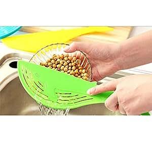 SwirlColor 2x Food Safe Plastic Strainer for Kitchen
