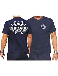 T-Shirt bleu marine, Chicago Fire Dept. avec emblème haches et standard