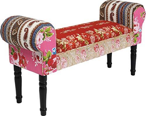 Kare Design Sitzbank Wing Patchwork Powder, kleine, gepolsterte Schuhbank, Polsterbank im Barock Stil, Rot-Rosa Bunt, One Size