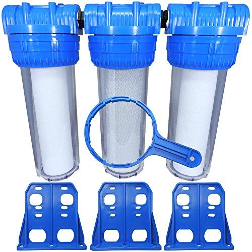 """Transparente Trio Filtergruppe - Vorfilter - Brunnenwassserfilter - in 10 Zoll"""" mit 1"""" IG mit Filterschlüssel und Wandhalter - Aktivkohlefilter und Sedimentfilter"""