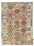 Nain Trading Kelim Afghan 249x183 Orientteppich Teppich Dunkelgrau/Beige Handgewebt Afghanistan
