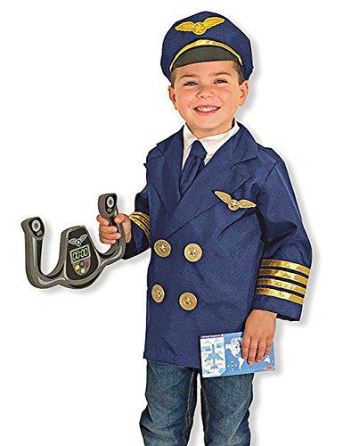 (THEE Kinderkostüm Pilot Kostüm Set Flug-Kapitän Pilotenkostüm für Kinder Halloween Karneval Fasching Spielzeug Geschenk Rollenspiel Uniform)