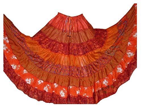 1 Verschiedene Tribal 7 Yard Gypsy Maxi Tiered Bauchtanzrock Seidenmischung Banjara für M L, EINE Größe 34-44 -