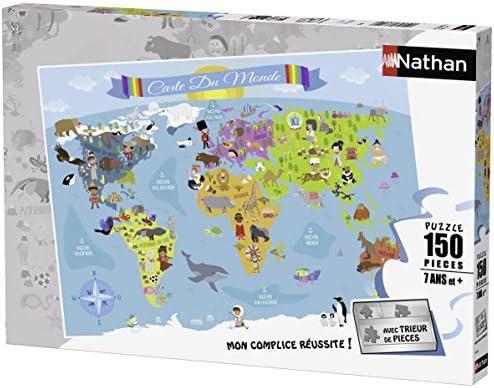 Nathan - 86806 - Puzzle -  Carte du Monde - 150 pièces   Des Performances Fiables