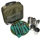 NGT-Set di posate da campeggio, Picnic piatti 2 coltelli e forchette & mug
