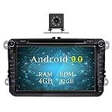 Ohok 8 Pollici Android 9.0 Pie Octa Core 4G+32G 2 Din In Dash Autoradio Schermo di Tocco Lettore DVD Navigatore GPS Con Bluetooth Per VW Volkswagen Golf Passat con piccola telecamera di retromarcia