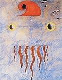 Artland Poster Kunstdruck aufgezogen auf Holz-Platte Wand-Bild Joan Miró Kopf eines katalanischen Bauern, 1925 Abstrakte Motive Muster geometrische Formen Graphische Kunst Blau 63 x 49 x 1,2 cm A0TX