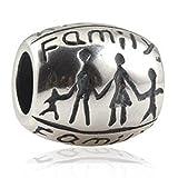 Andante-Stones - original, plata de ley 925 sólida, cuenta de plata con la inscripción Family (familia) tallada, elemento bola para cuentas European Beads + saco de organza
