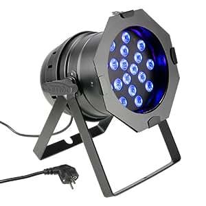 Cameo Light CLP64TRI3WBS PAR 64 CAN Projecteur LED avec boîtier TRI Colour 18x3 W RGB Noir