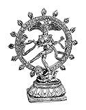 Deko Figur tanzende Shiva Nataraja im Rad aus Polystein silber Optik, 25,5 cm groß, Buddha Statue Figur Gott in Asien Herr des Tanzes