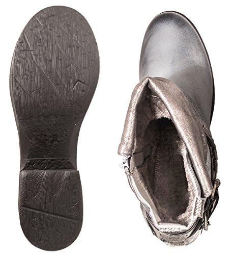 Elara Damen Biker Boots | Metallic Prints Schnallen | Nieten Stiefeletten Lederoptik | Gefüttert Grau Frankfurt