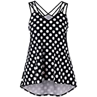 Ladies Camisole Vest Kanpola Womens Black White Wave Point Printed Plus Size Strappy Polka Dot Cami Tank Top Blouse