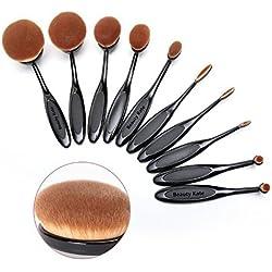BeautyKate Set of 10 pcs Professional Oval Toothbrush Makeup Brush Set (Black) - Super Soft Cosmetics Foundation Blending Blush Eyeliner Face Powder Brush by Beauty Kate