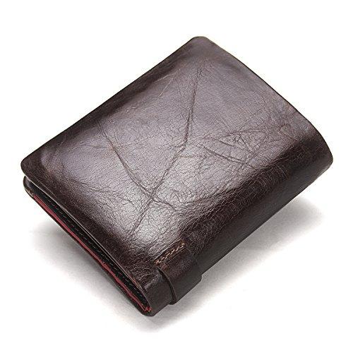 Contacts Herren echtes Leder Karten Münzenhalter Reißverschluss Tasche Kupplung Geldbörse kurze Geldbörse Dunkelbraun Dunkelbraun