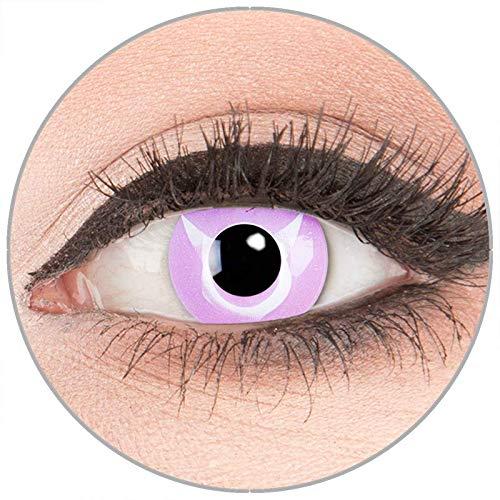 Farbige Kontaktlinsen zu Fasching Karneval Halloween - Topqualität von 'Glamlens' ohne Stärke 1 Paar Crazy Fun rosa violette 'Geass' mit Kombilösung (60ml) + Behälter