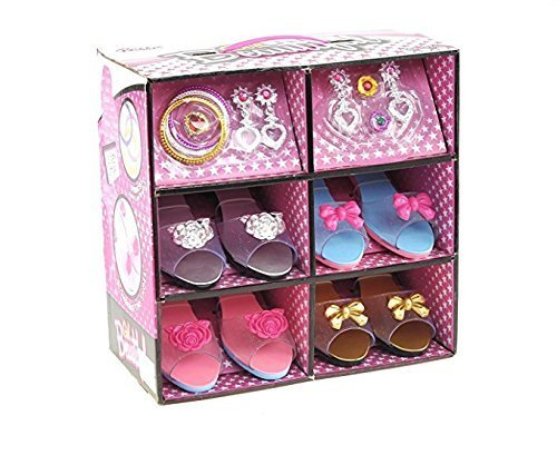 Princess Dress Up & Play Shoe and Jewelry Boutique (Includes 4 Pairs of Shoes + Multiple Fashion Accessories) - This dressup princess jewelry set is the best gift for girls ()