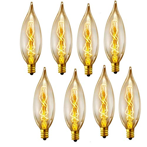 Vintage Glühlampe Kronleuchter Leuchtmittel 40W 110-130V, 280Lumen gebogen Flamme Spitze Glühlampe mit Kandelaber Basis (E12) Home Beleuchtungskörpern Dekorative, dimmbar, 8er Pack -