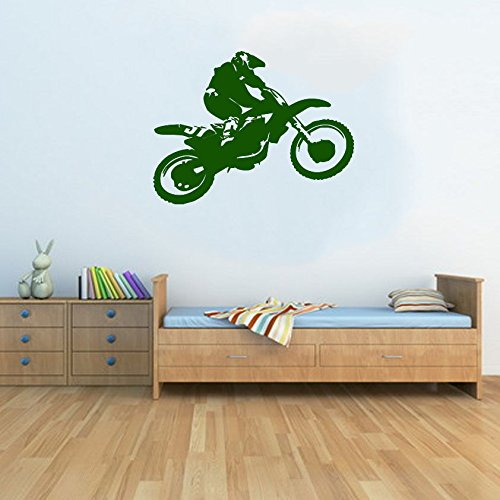 Motocross Dirt Bike Jump Kids Schlafzimmer gratis Rakel. Art Wand Kinder Aufkleber, gold, Large - 77cm W x 59cm H - Dirt Gold Bike