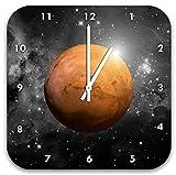 Planet Mars im Universum B&W Detail, Wanduhr Durchmesser 28cm mit schwarzen spitzen Zeigern und Ziffernblatt, Dekoartikel, Designuhr, Aluverbund sehr schön für Wohnzimmer, Kinderzimmer, Arbeitszimmer