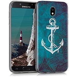 kwmobile Funda para Samsung Galaxy J5 (2017) DUOS - forro de TPU silicona cover protector para móvil - Case Diseño Ancla y mapa blanco azul