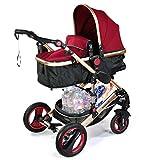 2 in 1 Kinderwagen Farbe Bordeaux Rot Schwarz - Bambimo - Kombi Kinderwagen - Buggy - Sportsitz - Babywanne - Aluminium Rahmen - Abnehmbare Reifen - Extra Größe Bereifung