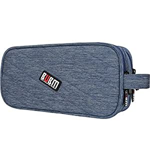 BUBM Universal Charger Carry Case / Electronics Accessories Travel Organiser Bag (Large, Blue)