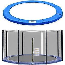 ULTRAPOWER SPORTS Filet de Sécurité et Coussin de Protection de Ressorts pour Trampoline avec Diamètre 244cm 305cm 366cm 397cm 6/8 Barres - (Noir, 366cm 8barres)