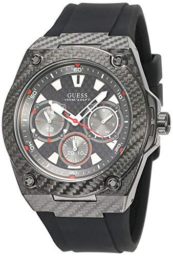 Guess Herren Chronograph Quarz Uhr mit Silikon Armband W1048G2 (Herren-uhr Guess)