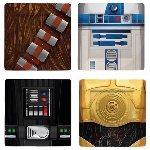 Star Wars I Am Chewbacca/R2-D2/C-3PO/Darth Vader Ensemble de plaque, Multicolore, Lot de 4