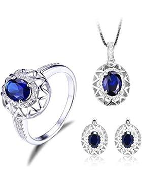 JewelryPalace Einzigartiges Design 5.1ct Synthetisch Blau Saphir Damen-Schmuckset Verlobung Ring Anhänger Halsketten...