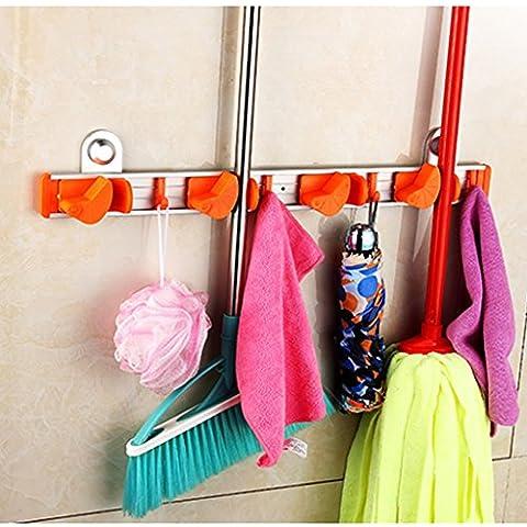 Mop - Free Drilling Mop cartella Deck senza saldatura Broom Rack alluminio Bagno Hanging cartella Cartella ( colore : Arancia , dimensioni : B. )
