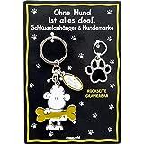 Die Geschenkewelt Sheepworld 45709 Schlüsselanhänger Ohne Hund ist Alles doof, schwarz-weiß Schlüssel-Anhänger, Zinklegierung, Eisen, 11 cm, Länge Pfote: 5,5 cm