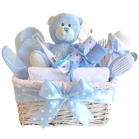 Angel DELUXE White Wicker Baby Boy Gift Basket / Gift