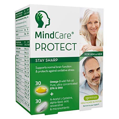 MindCare PROTECT, mente acuta - integratore per cervello attivo e per la memoria - omega-3 di alta qualità proveniente da olio di pesce selvatico, N-acetilcisteina, acido alfa lipoico, resveratrolo e multivitaminici per supportare la funzione cereb