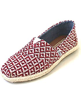 Toms Classic Red Diamond Geo Women woven rope sole