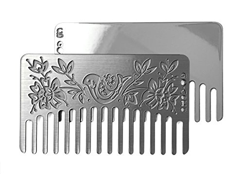 Go-Comb - Wallet Comb + Mirror - Sleek, Durable Stainless Steel Hair Comb with Travel Mirror by - Spiegel Und Mini-haarbürste