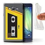 Stuff4® Gel TPU Hülle/Case für Samsung Galaxy A7/A700 / Gelb/Grau Muster/Retro-Kassettenrecorder Kollektion