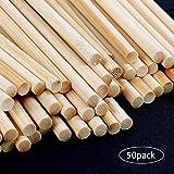 OFNMY 50 pz Artigianato Barre di bambù Bastoni Canne Artigianali Bastoni Natura Perni di bambù per Fai da Te Modelli di Progetti (6 * 300mm)